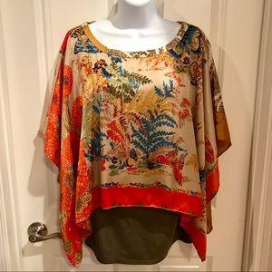 BNWT Anthropologie layered silk top Size XL